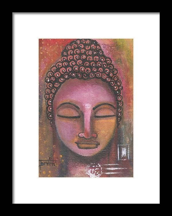 Buddha Framed Print featuring the mixed media Buddha In Shades Of Purple by Prerna Poojara