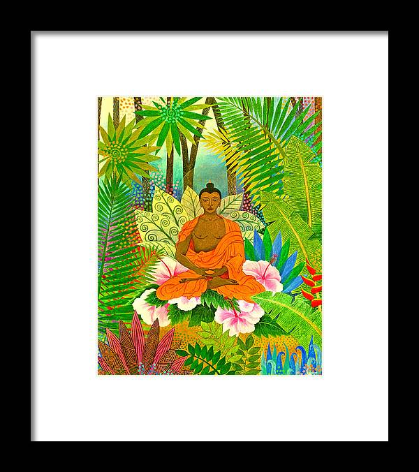 Buddha Meditation Spirtual Forest Tropical Enlightenment Framed Print featuring the painting Buddha In The Jungle by Jennifer Baird