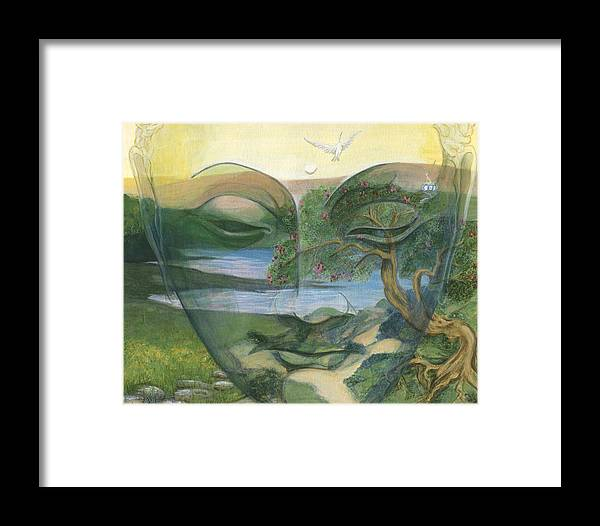 Children Framed Print featuring the painting Buddha by Nad Wolinska