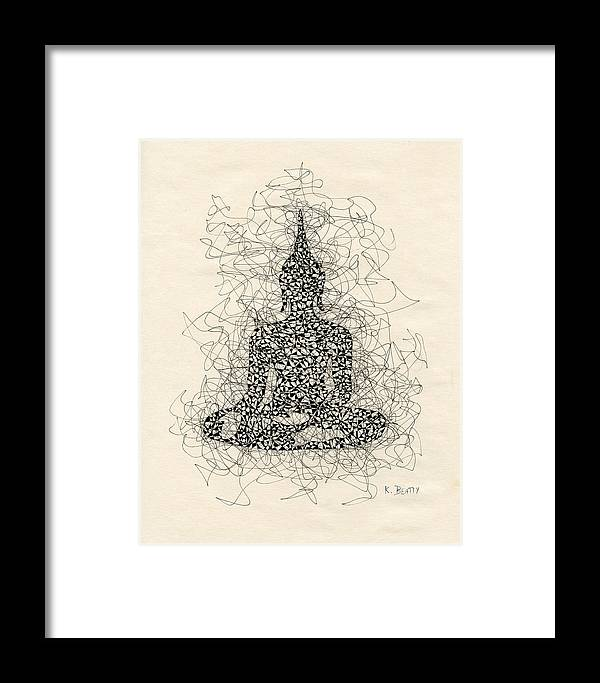 Buddha Framed Print featuring the drawing Buddha Pen And Ink Drawing by Karla Beatty
