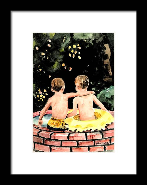 Boys Framed Print featuring the painting Buddies by Arline Wagner