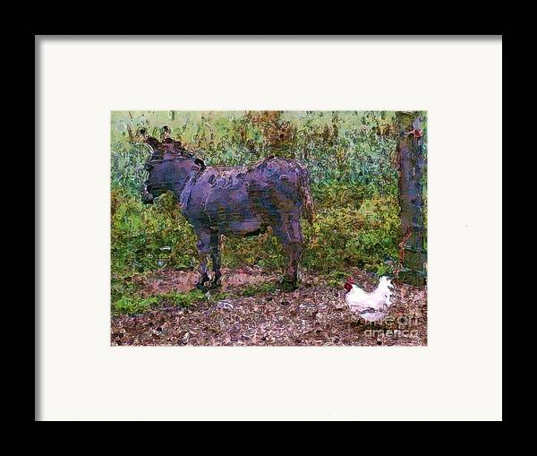 Buddies Take A Walk Framed Print featuring the painting Buddies Take A Walk by Methune Hively
