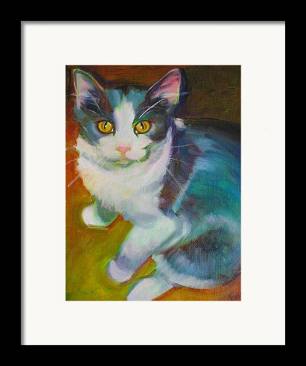 Pet Framed Print featuring the painting Buddy The Cat by Kaytee Esser