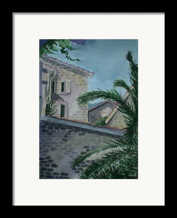 Montenegro Framed Print featuring the painting Budva Old Town by Aleksandra Buha