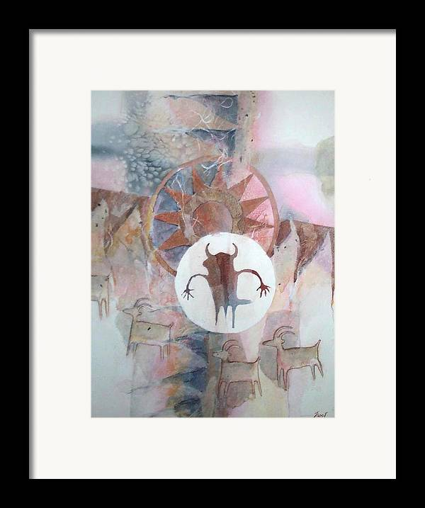 Indian Pictograph Framed Print featuring the painting Buffalo Dancer by Don Trout