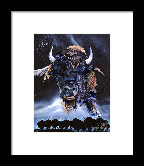 Buffalo Framed Print featuring the painting Buffalo Medicine by J W Baker