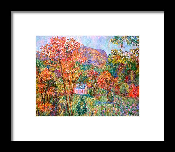 Landscape Framed Print featuring the painting Buffalo Mountain In Fall by Kendall Kessler