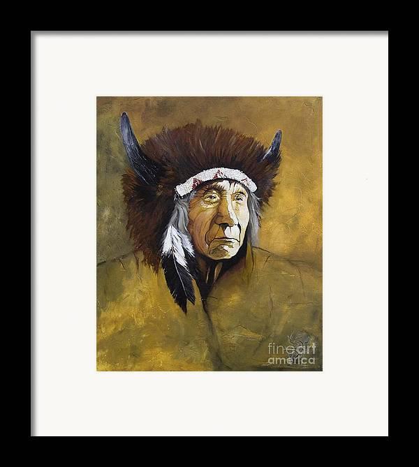 Shaman Framed Print featuring the painting Buffalo Shaman by J W Baker