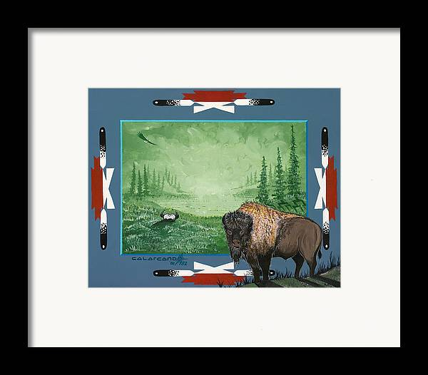 Buffalo Framed Print featuring the painting Buffalo Spirit by Cal Arcand
