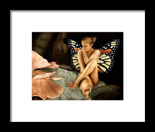 Faeries Framed Print featuring the painting Bug Me by Charles Parks