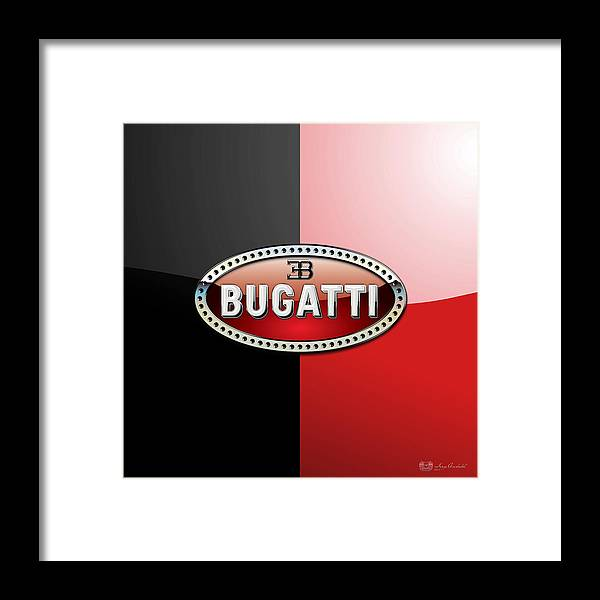 Wheels Of Fortune By Serge Averbukh Framed Print featuring the photograph Bugatti 3 D Badge on Red and Black by Serge Averbukh
