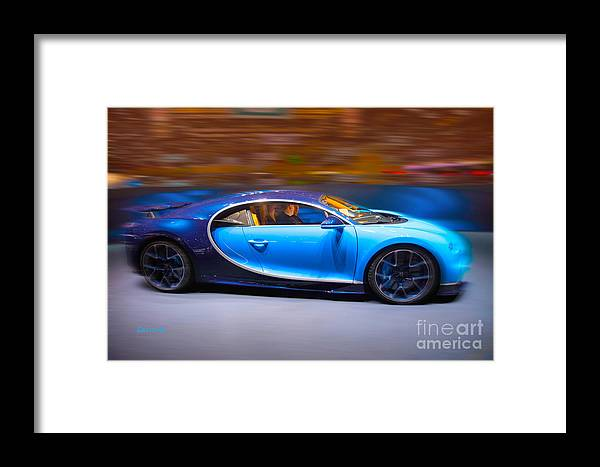 Car Framed Print featuring the mixed media Bugatti Chiron 3 by Garland Johnson