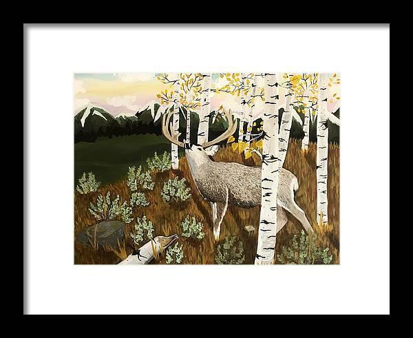 Mule Deer Framed Print featuring the painting Bugling Mule Deer by Amber Nation