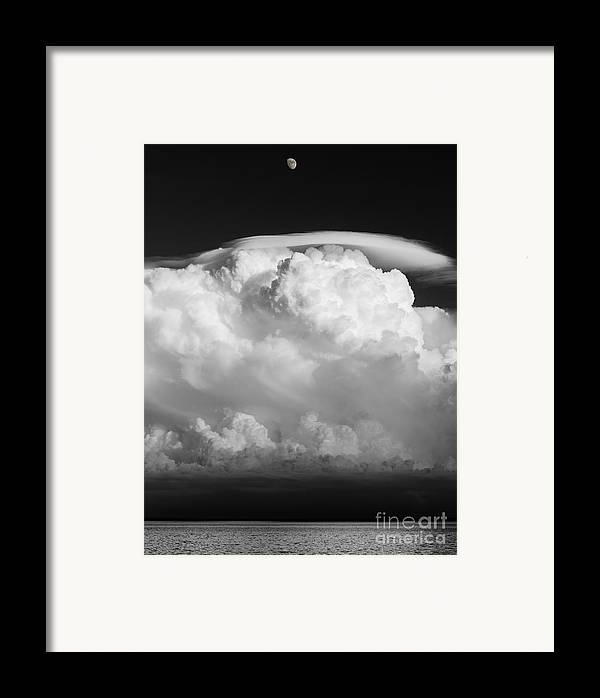 building A Mystery supercel lake Superior moon Over Lake Superior black And White Bw Monochrome Sky mary Amerman Framed Print featuring the photograph Building A Mystery by Mary Amerman