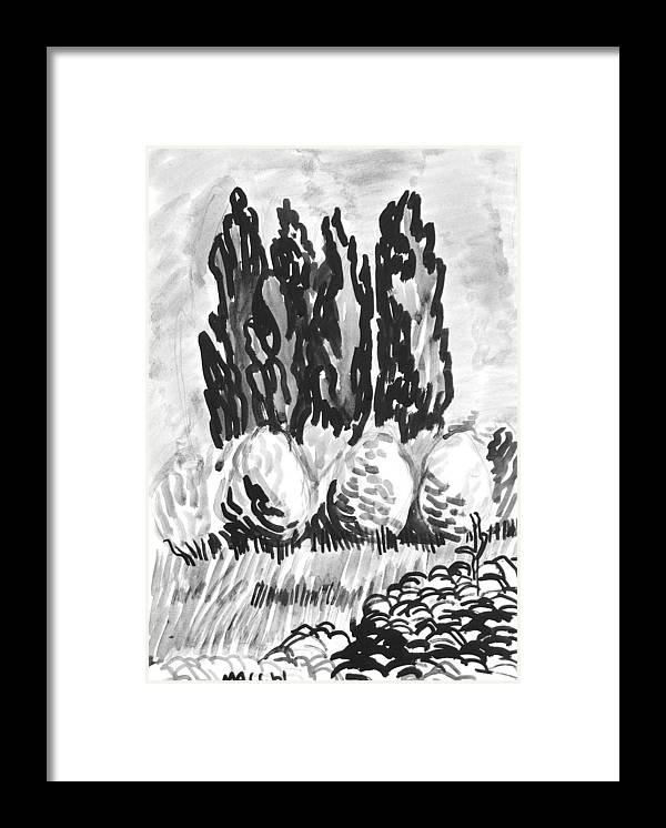 Trees Framed Print featuring the drawing Bulk Of Green by Vitali Komarov