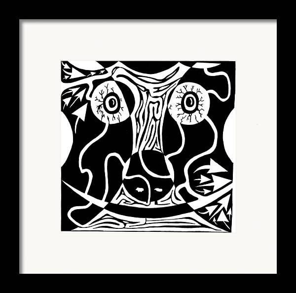 Rorschach Framed Print featuring the drawing Bull Charging Rorschach by Yonatan Frimer Maze Artist