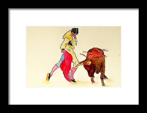 Spain Framed Print featuring the painting Bull Fighter by Leo Gordon