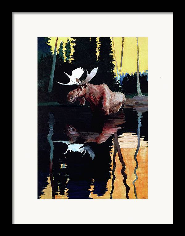 Moose Framed Print featuring the painting Bull Moose by Robert Wesley Amick