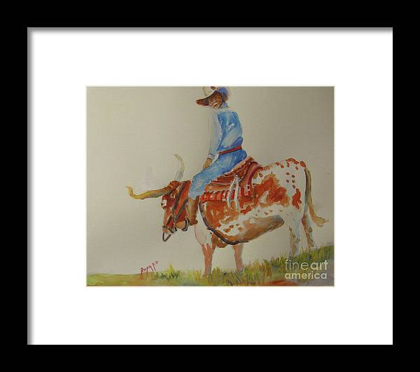 Cowboy Framed Print featuring the painting Bull Rider by Linda Rupard