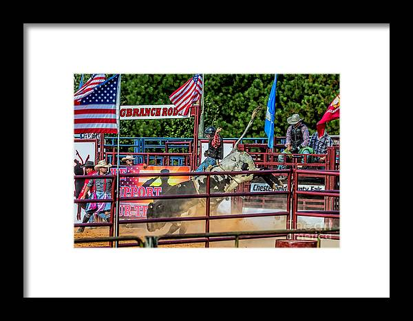 Bull Riding Framed Print featuring the photograph Bull Riding 4918tc by Doug Berry