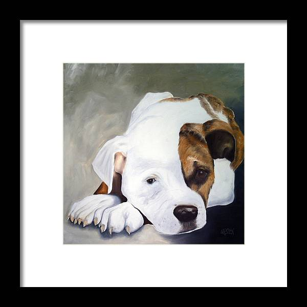 Framed Print featuring the painting Bulldog by Dick Larsen