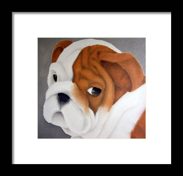 Dogs Framed Print featuring the painting Bulldog Puppy by Terri Meyers
