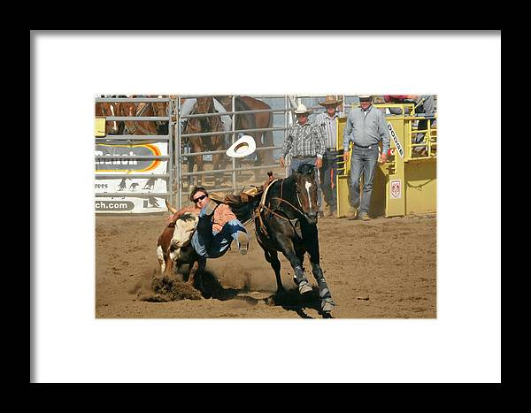 Cowboy Framed Print featuring the photograph Bulldogging At The Rodeo by Christine Till
