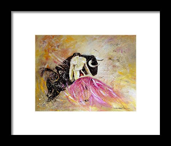 Animals Framed Print featuring the painting Bullfight 74 by Miki De Goodaboom