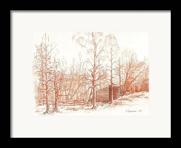 Landscape Framed Print featuring the drawing Bullion by Muriel Dolemieux