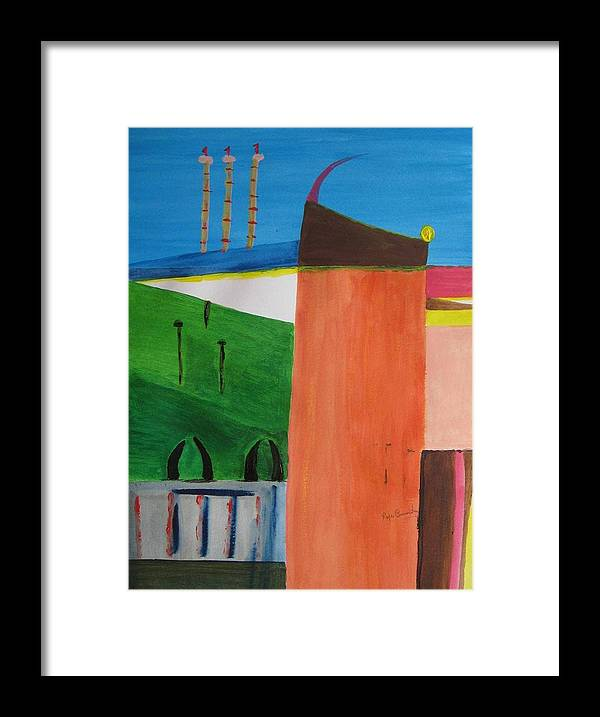 Abstract Framed Print featuring the painting Bullring - Plaza De Toro. by Roger Cummiskey