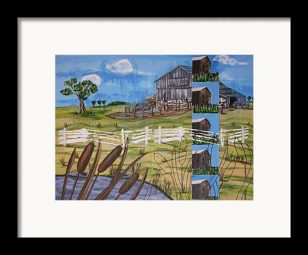 Farms Framed Print featuring the painting Bullrushes by Judy Anderson