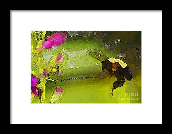 Bumble Bee Framed Print featuring the digital art Bumble Bee And Penstemon Over Pond by Annie Johnson
