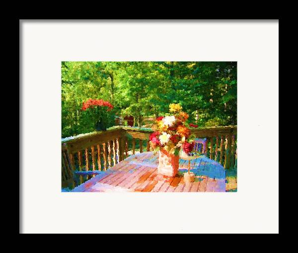 Framed Print featuring the mixed media Bumble Deck Flowers by Jonathan Galente