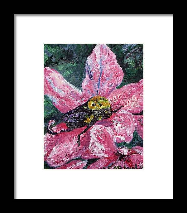 Bee Framed Print featuring the painting Bumblebee Digs In by Emily Michaud