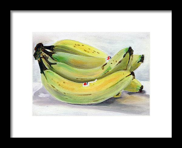 Still-life Framed Print featuring the painting Bunch Of Bananas by Sarah Lynch
