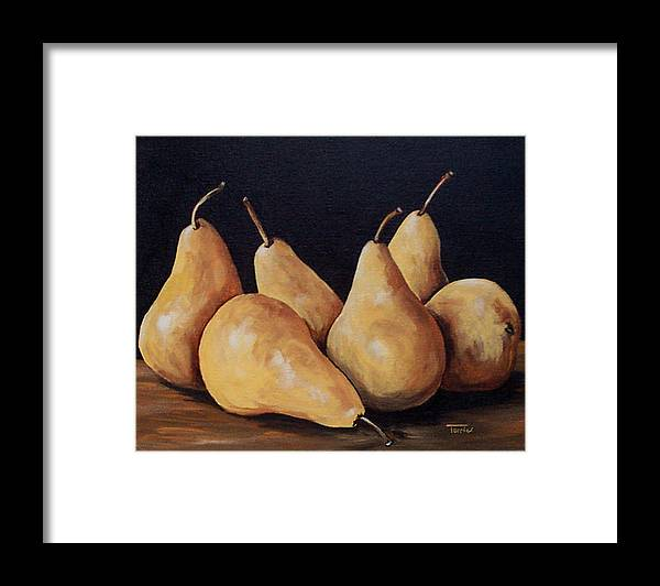 Golden Bosc Pears Framed Print featuring the painting Bunch Of Bosc Pears by Torrie Smiley