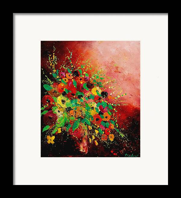 Flowers Framed Print featuring the painting Bunch Of Flowers 0507 by Pol Ledent