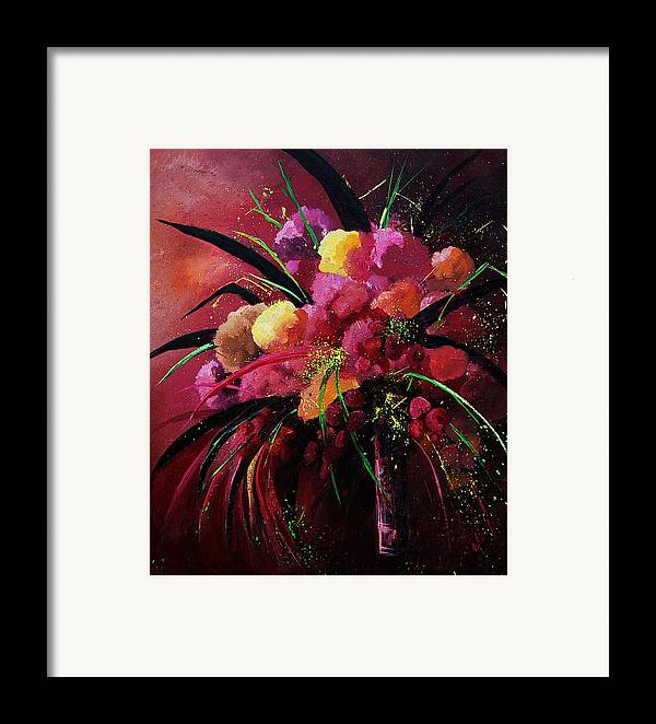 Flowers Framed Print featuring the painting Bunch Of Red Flowers by Pol Ledent