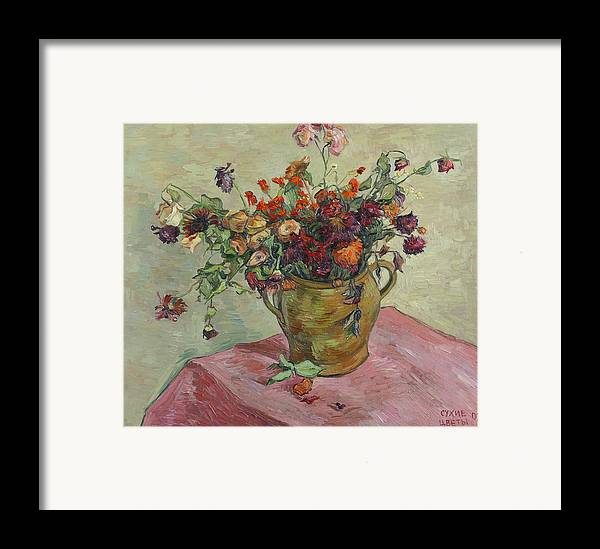 Still Life Framed Print featuring the painting Bunch Of Roses by Vitali Komarov