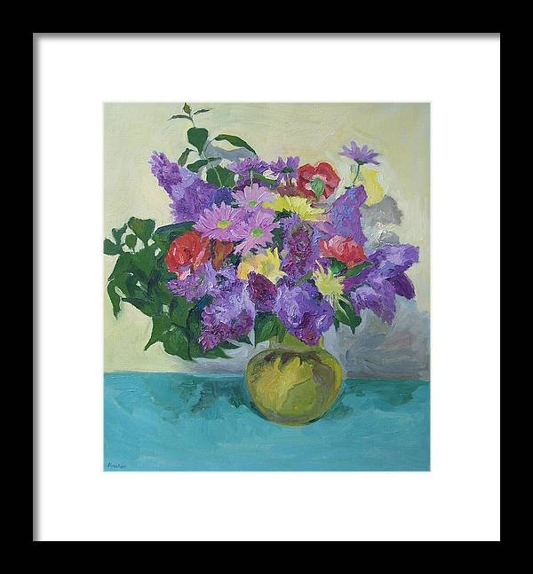 Flowers Framed Print featuring the painting Bunch Of Spring Flowers by Aletha Kuschan