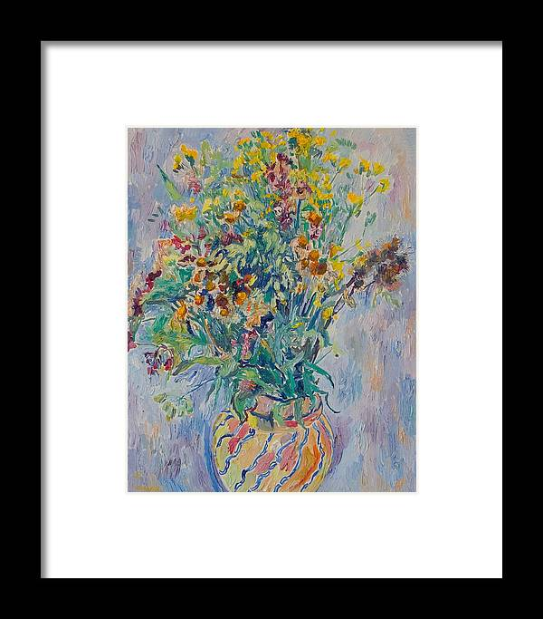 Wild Flowers Framed Print featuring the painting Bunch Of Wild Flowers In A Vase by Vitali Komarov