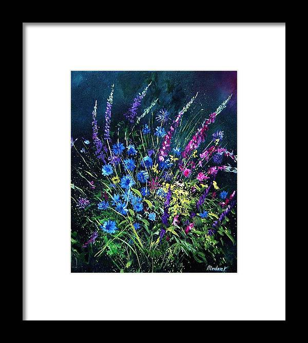 Poppies Framed Print featuring the painting Bunch Of Wild Flowers by Pol Ledent