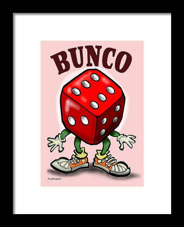 Bunco Framed Print featuring the greeting card Bunco by Kevin Middleton