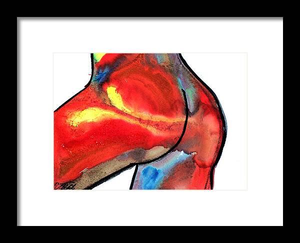 Erptic Sex Ass Female Red Berlato Framed Print featuring the painting Bunda 3 by Jorge Berlato