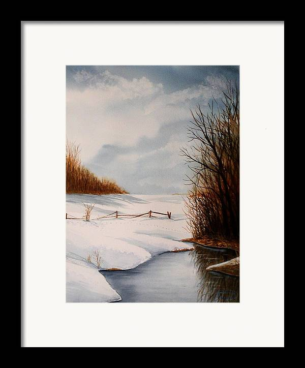 Winter Framed Print featuring the painting Bunny Trail by Sharon Steinhaus