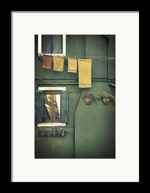 Green Framed Print featuring the photograph Burano - Green House by Joana Kruse