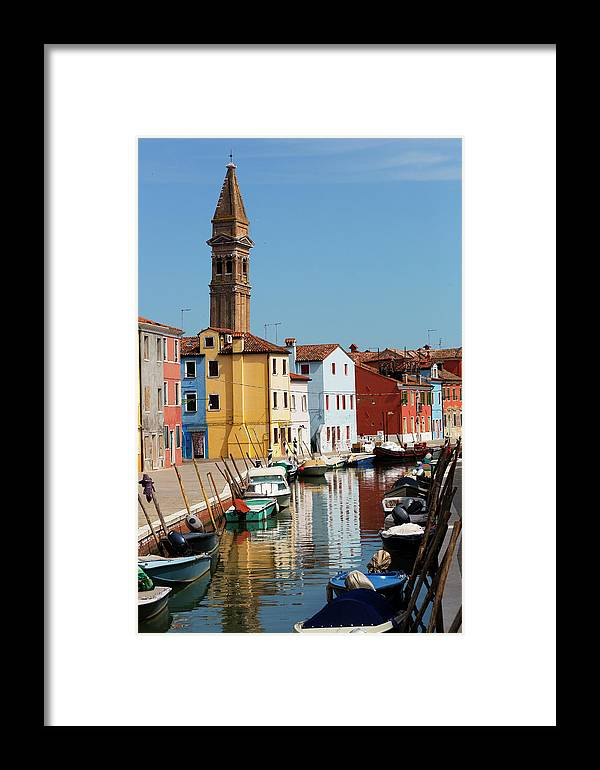 Burano Framed Print featuring the photograph Burano An Island Of Multi Colored Homes On Canals North Of Venice Italy by Bruce Beck