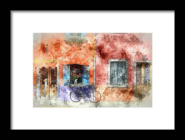 Burano Framed Print featuring the painting Burano Italy Digital Watercolor On Photograph by Brandon Bourdages