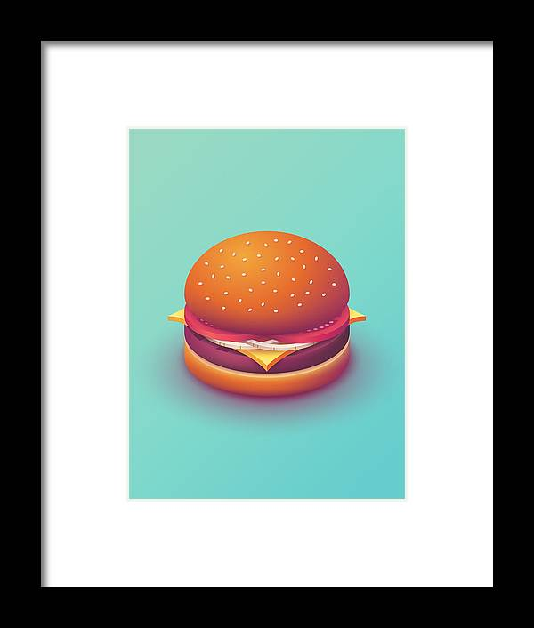 Burger Framed Print featuring the digital art Burger Isometric - Plain Mint by Ivan Krpan