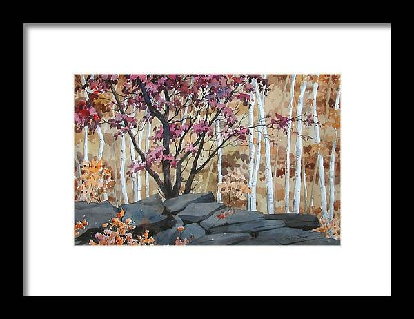Fall Framed Print featuring the painting Burgundy On The Rocks by Faye Ziegler